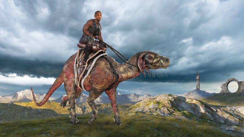 Fantasy Science Fiction Landscape, Man Riding Creature stock photos