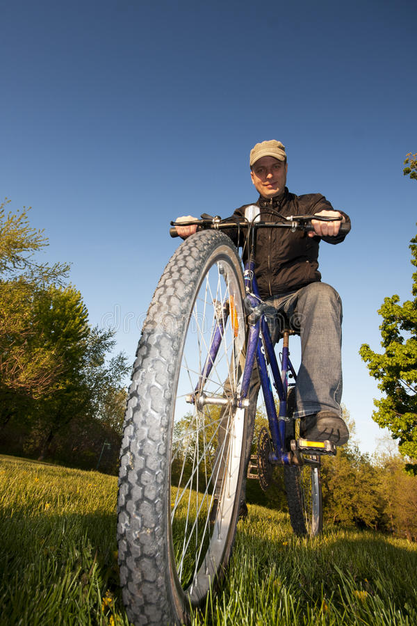 Download Man Riding Bicycle stock photo. Image of driveway, happy - 23420490