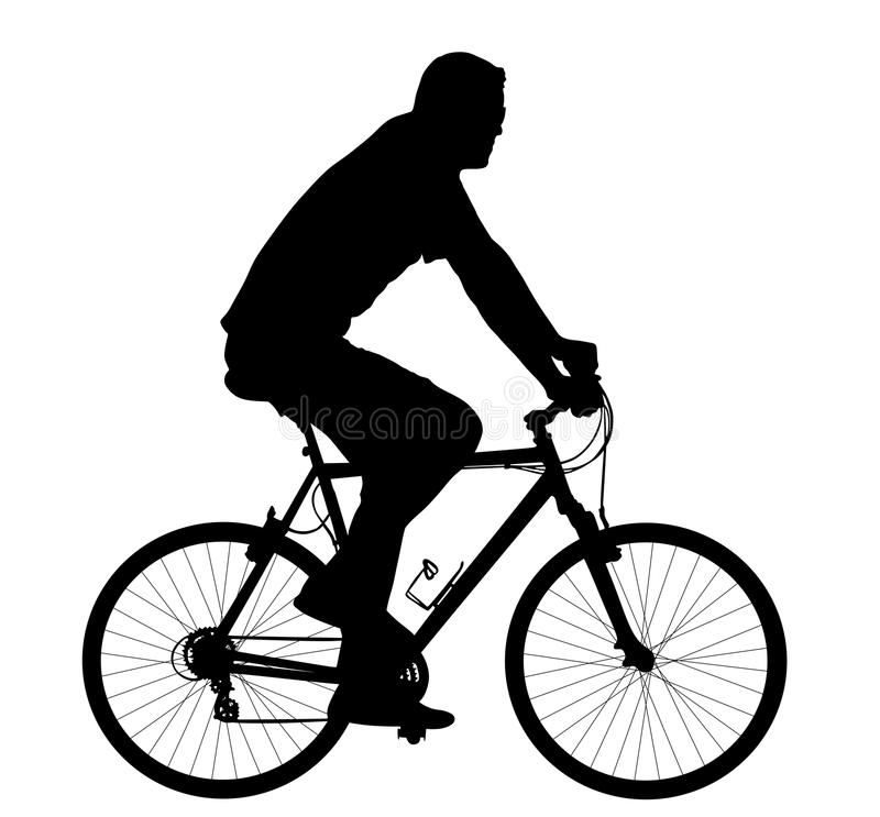 Silhouette Of A Man Riding A Bicycle Stock Illustration ...