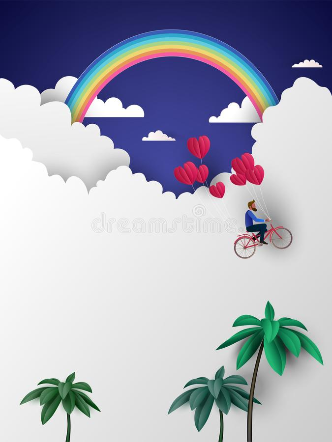 A man riding bicycle to the sky and holding red heart balloons. Love concept. Happy Valentine& x27;s Day wallpaper, poster, card. Vector illustration vector illustration
