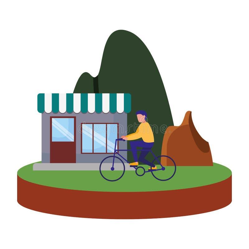 Man riding bike house mountain image. Vector illustration vector illustration