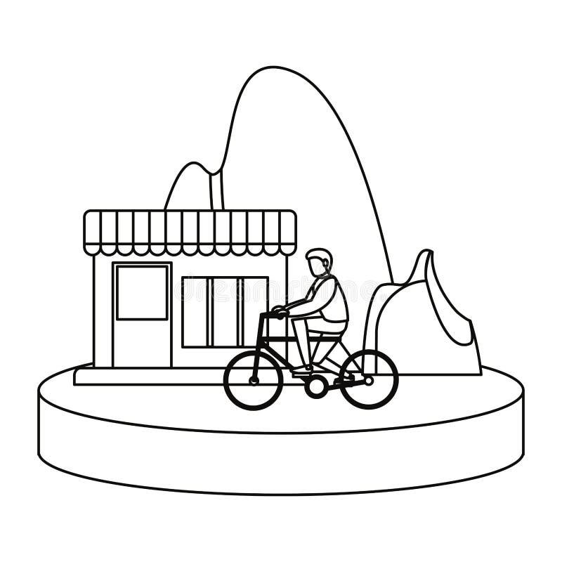 Man riding bike house mountain image. Vector illustration outline stock illustration