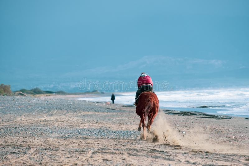 Man riding on a brown galloping horse along Ayia Erini beach against a rough sea royalty free stock photography