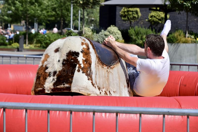 Man Riding Brown and White Electronic Bull stock image