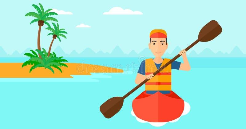 Man riding in canoe. royalty free illustration