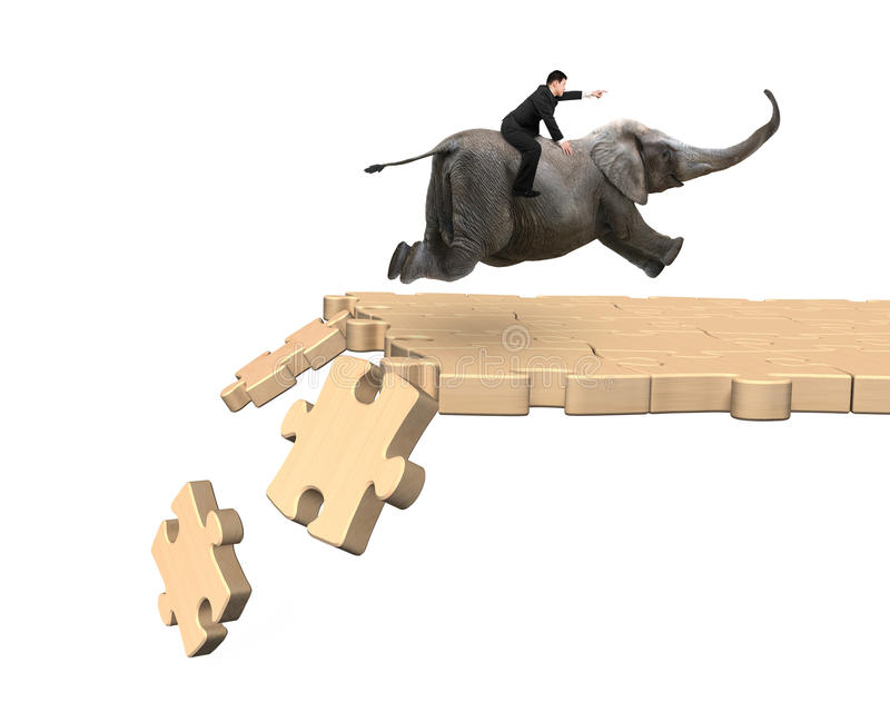 Man riding elephant on breaking puzzle path. Man with pointing finger gesture riding elephant on wooden puzzle path with some pieces falling, isolated on white stock images