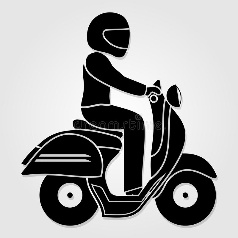Man riding fast retro scooter icon isolated on white background. Vector illustration.  royalty free illustration
