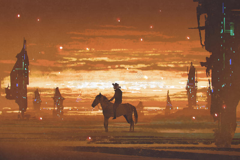Man riding horse against futuristic city in desert. Silhouette of man riding horse against futuristic city in desert, digital art style, illustration painting royalty free illustration