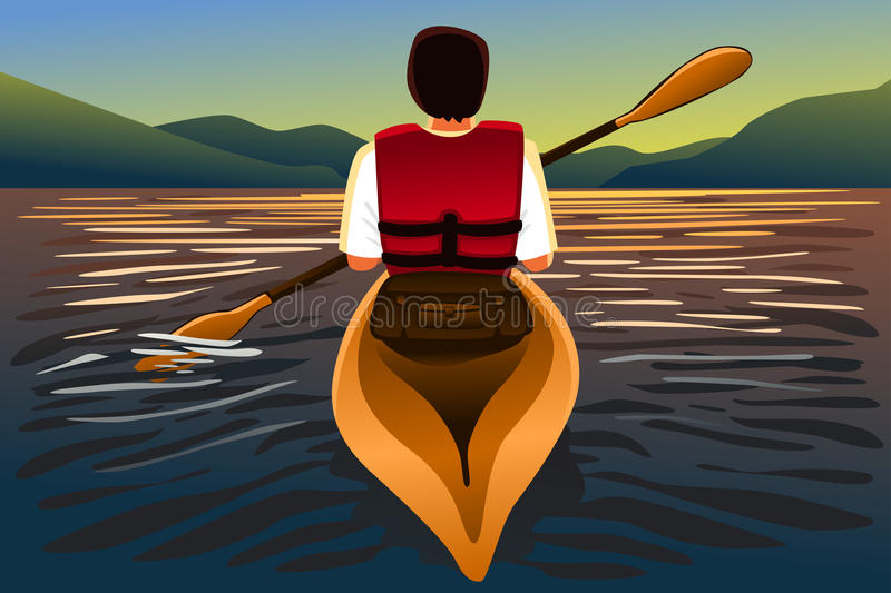 Man riding a kayak in the lake. A vector illustration of man riding a kayak in the lake royalty free illustration