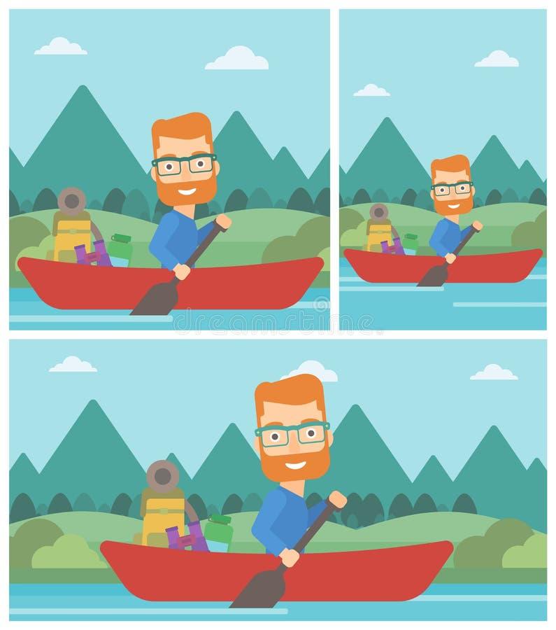 Man riding in kayak vector illustration. royalty free illustration