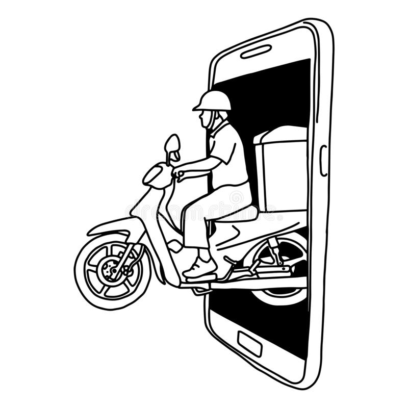 Man riding motorcycle out of the big screen of smartphone vector illustration sketch doodle hand drawn with black lines isolated vector illustration