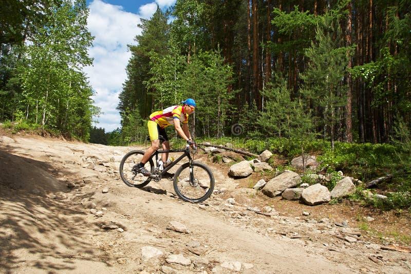 Man riding a mountain bike stock photos