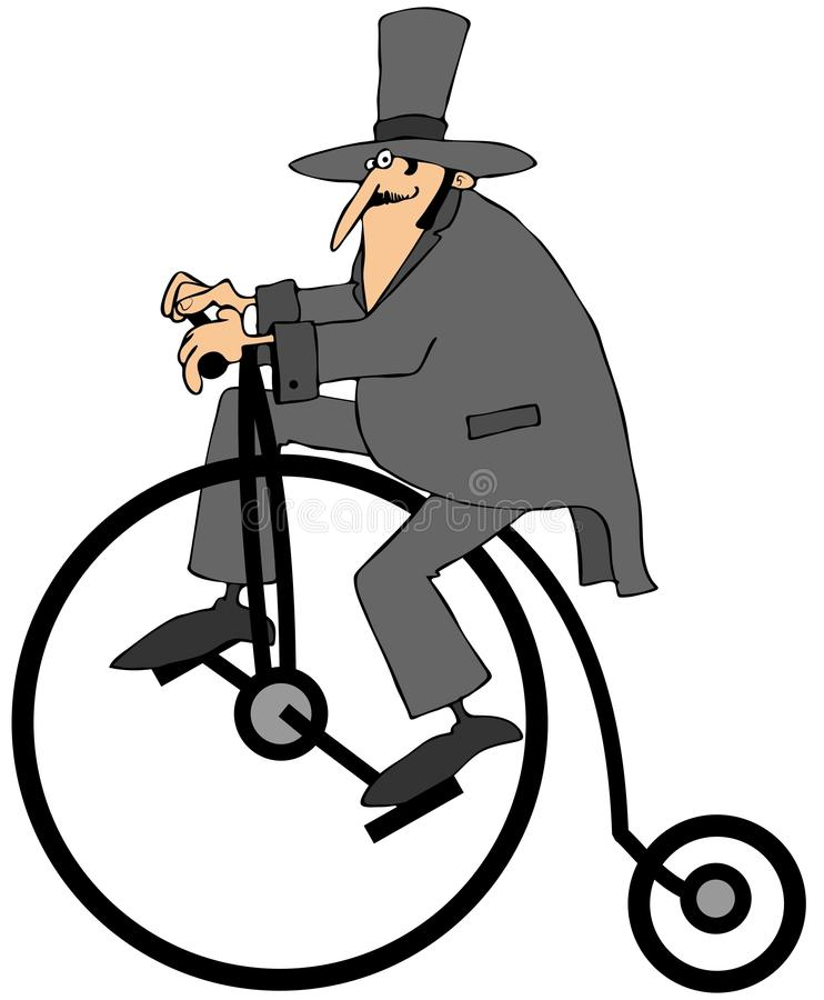 Download Man Riding An Old Fashion Bicycle Stock Illustration - Image: 32050950