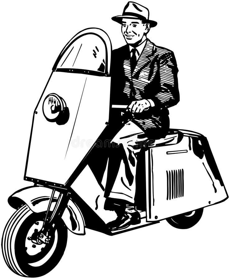 Man Riding Scooter vector illustration