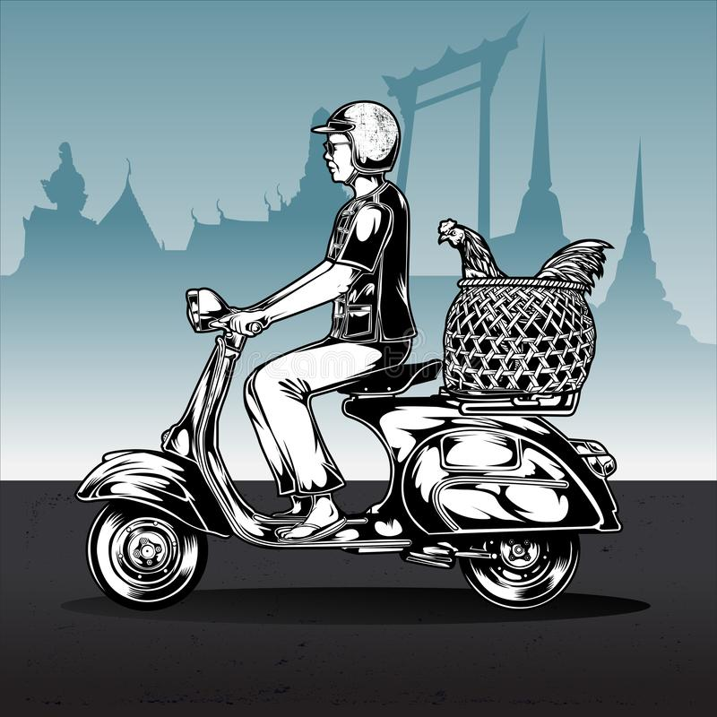 Man Riding Scooter in Thailand Vector stock illustration