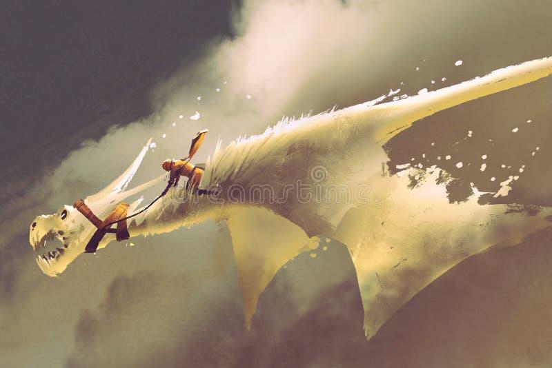 Man ridningen på den vita flygdraken mot en molnig himmel vektor illustrationer