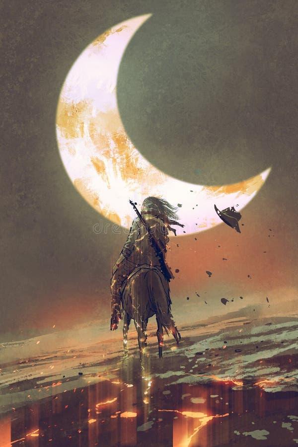 Man ridninghästen som splittras in i stycken under månen royaltyfri illustrationer