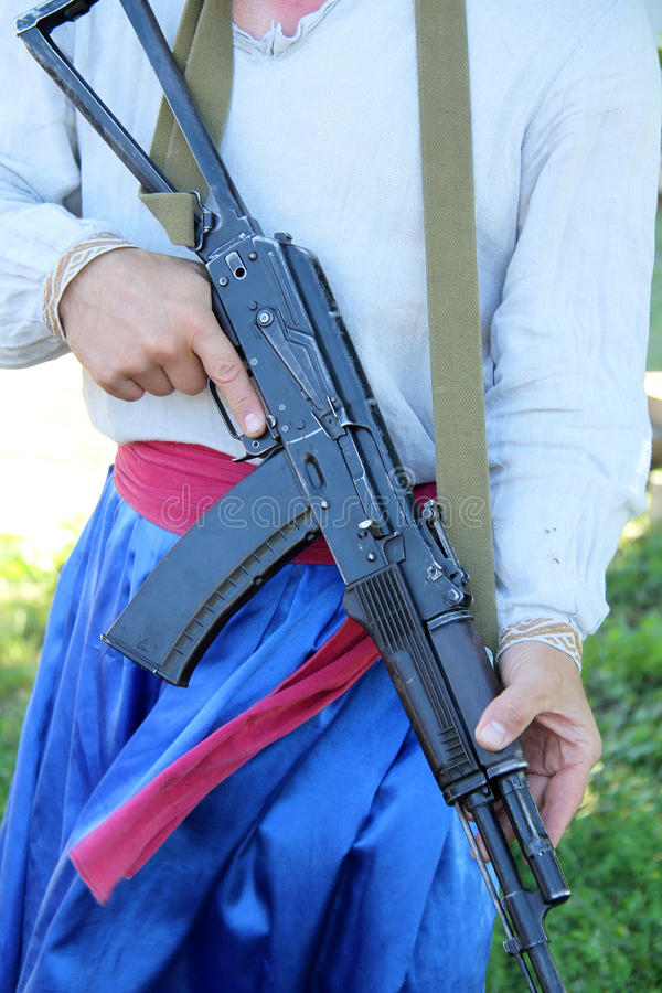 Download Man with rifle AK-47 stock photo. Image of holding, fight - 43588474