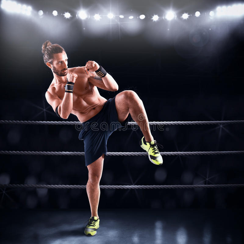 Man on ring ready to fight royalty free stock photos