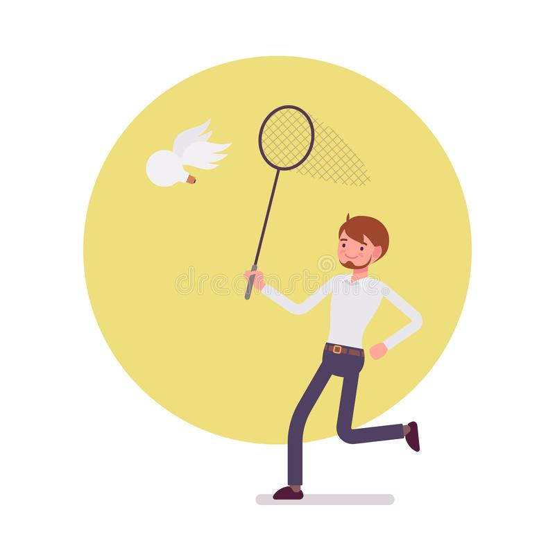 Man with ringnet is trying to catch an idea, wing bulb. Man with a ringnet is trying to catch an idea, a bulb with wings. Cartoon vector flat-style concept royalty free illustration
