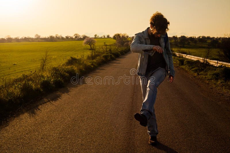 Man On The Road Stock Photo