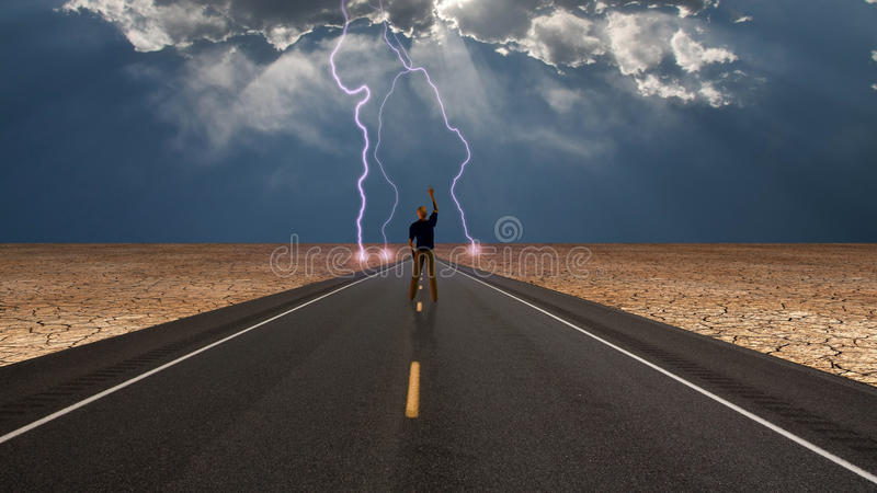 Man on road before storm royalty free illustration