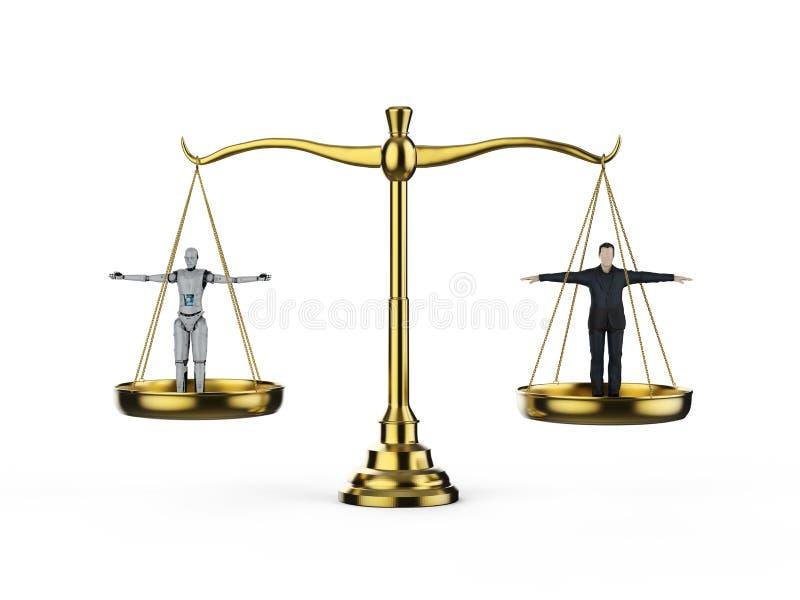 Man and robot balance concept stock illustration