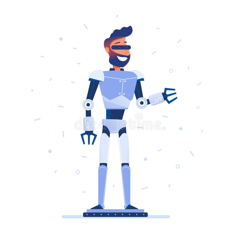 A man with robot body in VR headset. stock illustration