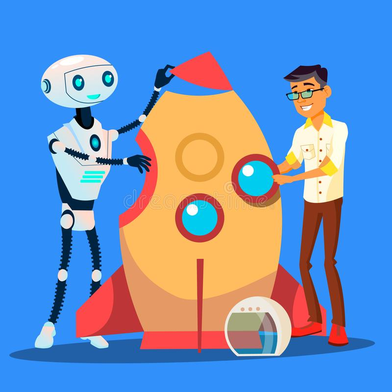 Man And Robot Are Building A Rocket Together Vector. Isolated Illustration. Man And Robot Are Building A Rocket Together Vector. Illustration royalty free illustration