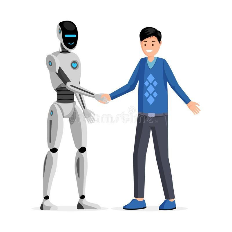 Man and robot handshake flat vector illustration. Cheerful guy and friendly humanoid cyborg shaking hands. Futuristic. Man and robot handshake flat vector royalty free illustration