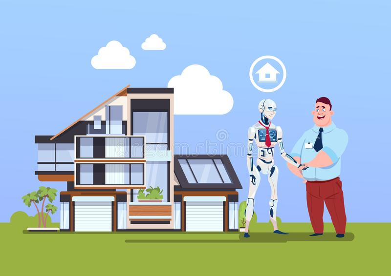 Man And Robot Shaking Hands Over Smart House, Modern Technology Of Home Automation Concept. Flat Vector Illustration stock illustration
