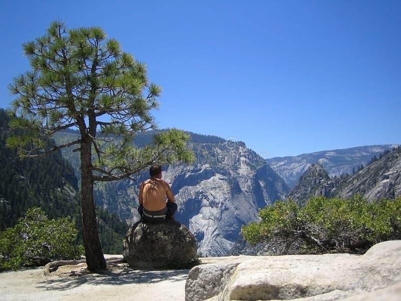 Man On A Rock At Yosemite royalty free stock photos