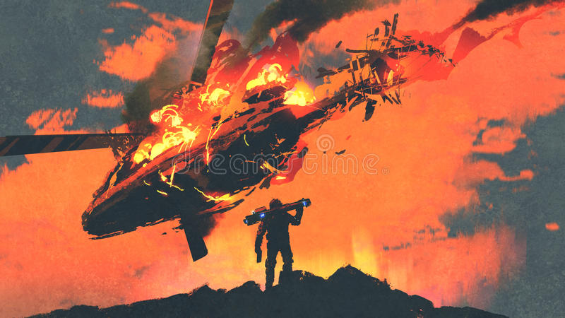 Man with rocket launcher looking burning falling helicopter. Man holding rocket launcher standing against burning falling helicopter, digital art style vector illustration