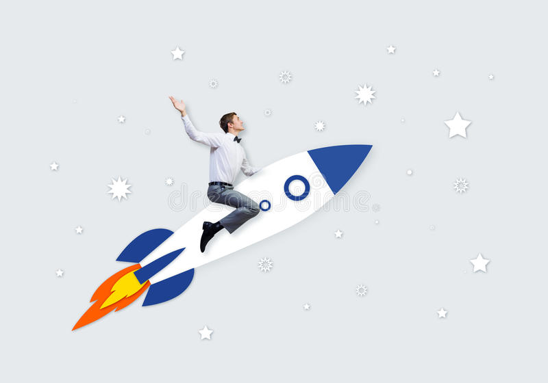Man on rocket stock illustration