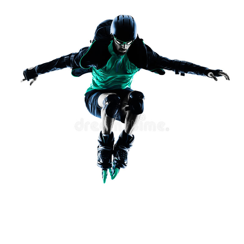 Man Roller Skater inline Blading. One caucasian man Roller Skater inline Roller Blading in silhouette isolated on white background stock photo