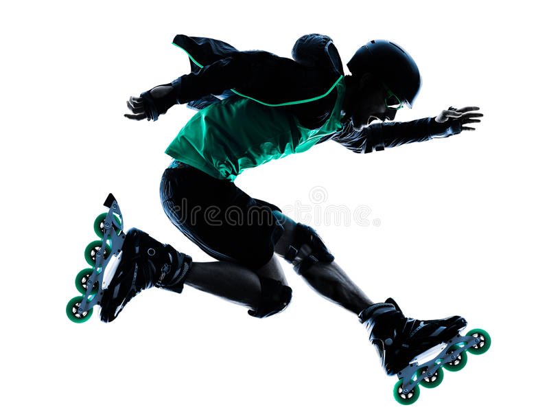 Man Roller Skater inline Roller Blading silhouette. One caucasian man Roller Skater inline Roller Blading in silhouette isolated on white background royalty free stock image