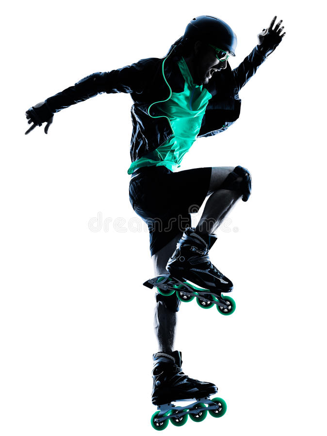 Man Roller Skater inline Roller Blading silhouette. One caucasian man Roller Skater inline Roller Blading in silhouette isolated on white background stock photography