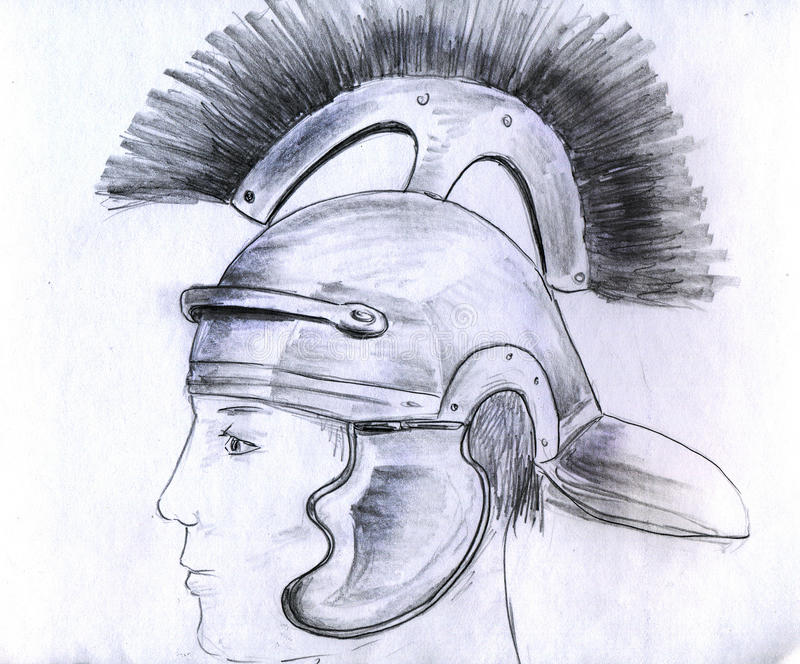 Man in Roman helmet stock photo