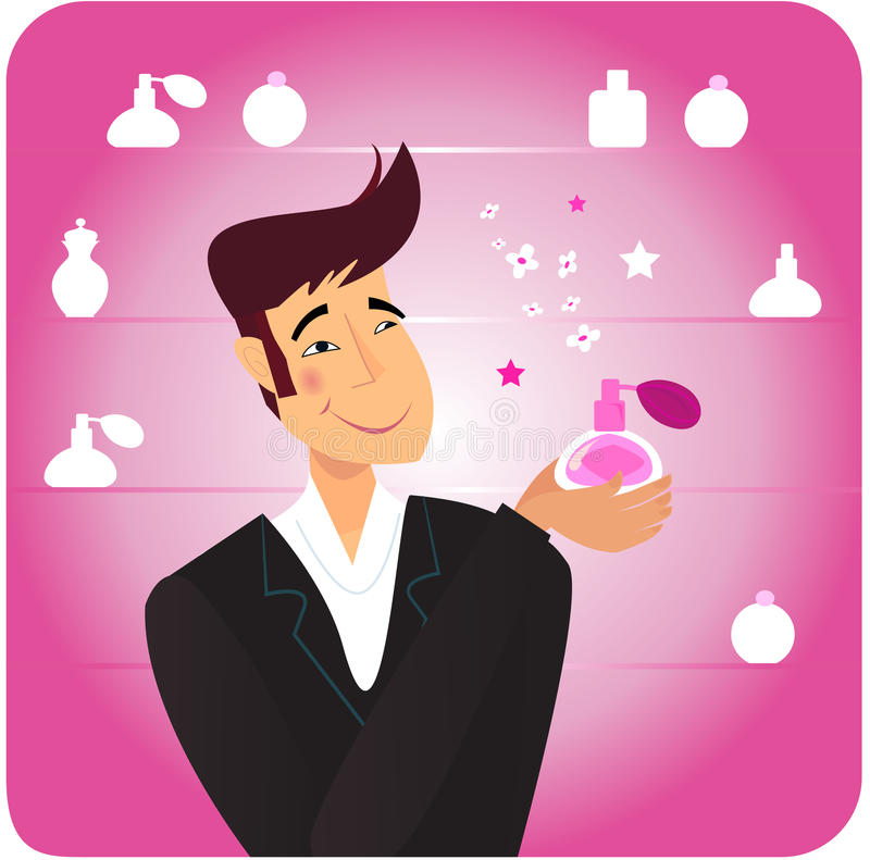 Man with romance gift - pink perfume bottle stock illustration
