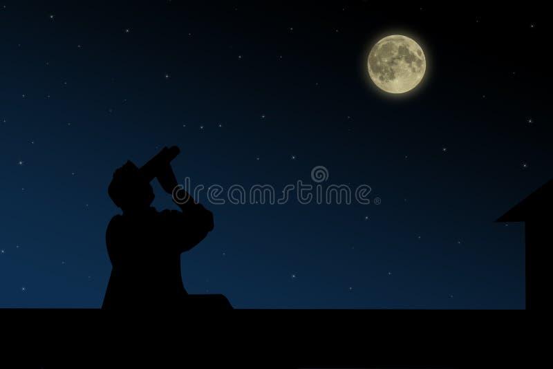 The man on the roof looks through binoculars at the full moon at night. The man on the roof looks through binoculars at the full moon at night vector illustration
