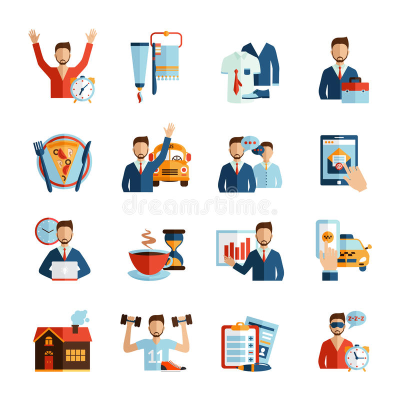 Man Daily Routine Icons. Set day work and rest life schedule isolated vector illustration stock illustration
