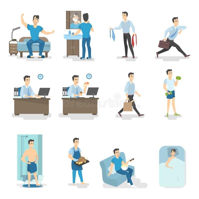 Man daily routine. Waking up, having breakfast, taking shower, going to the work and other activities. Busy man lifestyle. Isolated vector illustration in stock illustration