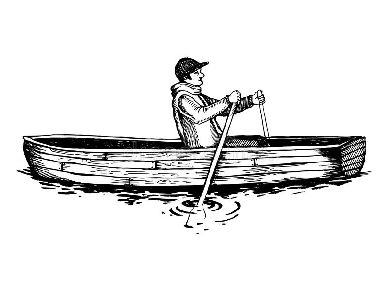 Man on rowing boat engraving vector illustration. Wooden water transport. Scratch board style imitation. Hand drawn image stock illustration