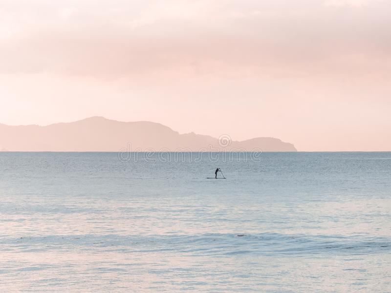 Man Rowing a Boat on Sea at Daytime stock photo