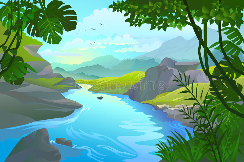 Man rowing his small boat by a mountain river vector illustration