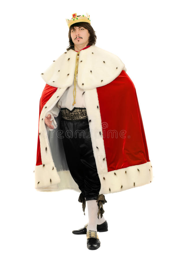 Man in the royal costume. Isolated royalty free stock images
