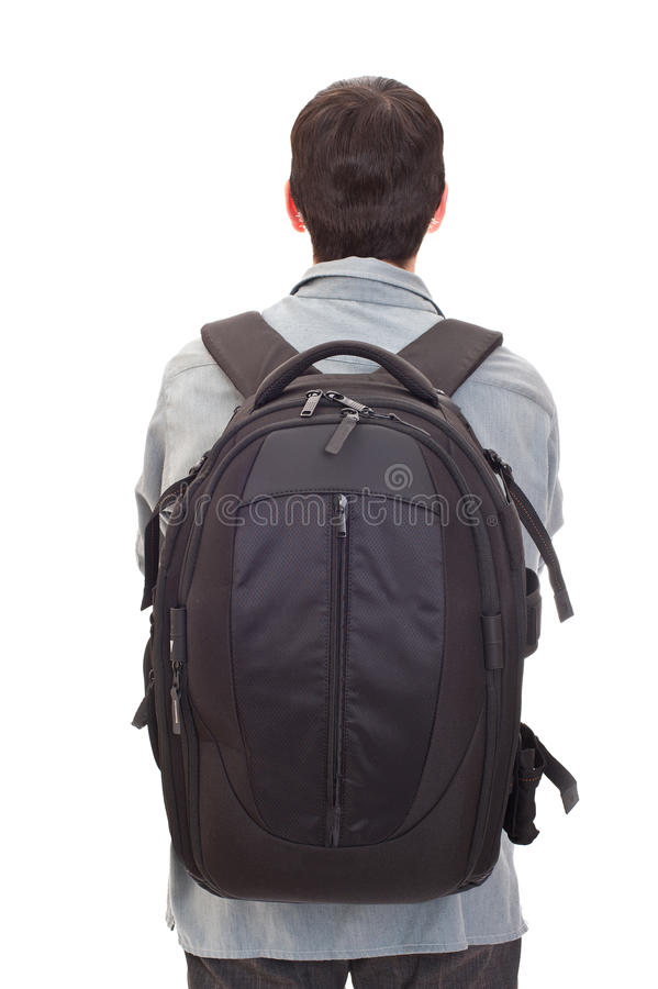 Man with a rucksack stock photo