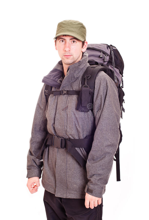 Download Man with a rucksack stock photo. Image of neck, white - 21331776