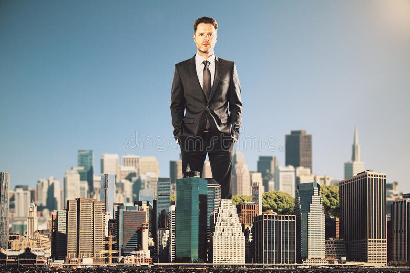 Man rules the city concept stock photography