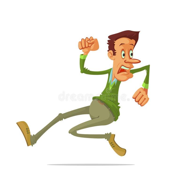 Man run away. Illustration very frightened man run away, vector cartoon vector illustration